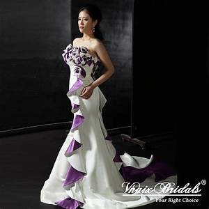 Purple and white wedding dresses purple and white for Royal purple and white wedding dress