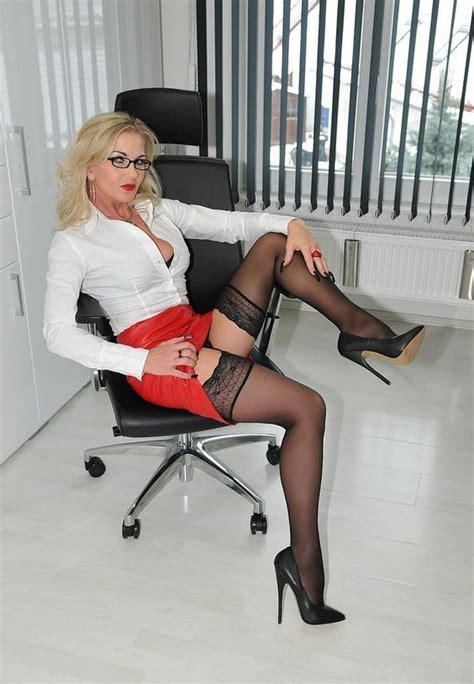 German Milf Secretary In Sexy Red Miniskirt Nylons And Heels Milf Update