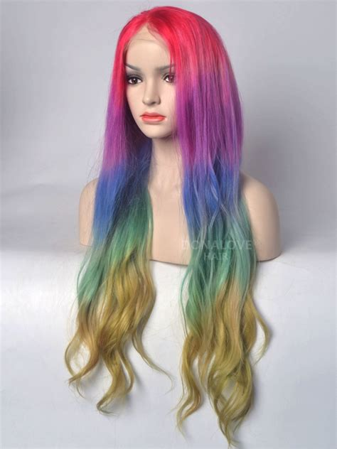 colorful wigs rainbow mermaid colorful lace front human hair wig hh041
