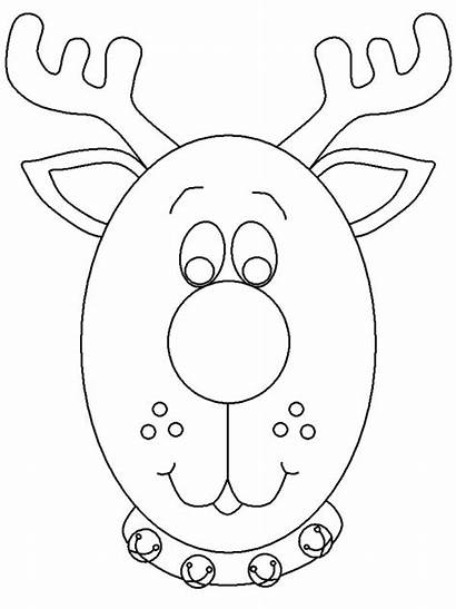 Reindeer Coloring Christmas Printable Pages Head Ornaments