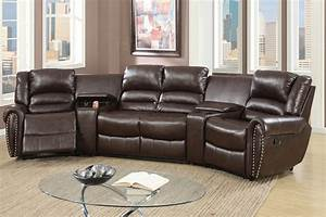 Brown leather reclining sectional steal a sofa furniture for Sectional sofa with bed and recliner
