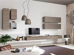 Deco Mural Salon : neha meuble tv mural l360 taupe et bois deco pinterest peintures murales tvs et taupe ~ Teatrodelosmanantiales.com Idées de Décoration