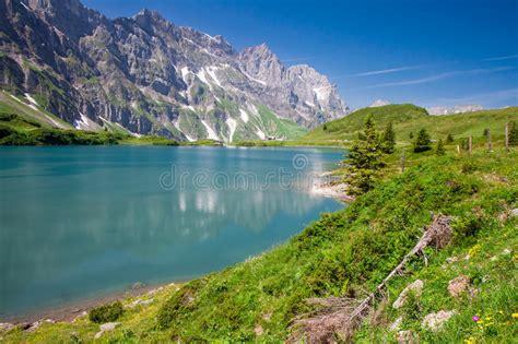 Direction Signs Alpine Hikes Alps Switzerland Stock Photo Hiking Around Truebsee Lake In Swiss Alps Engelberg