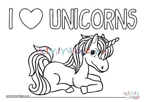 love unicorns colouring page