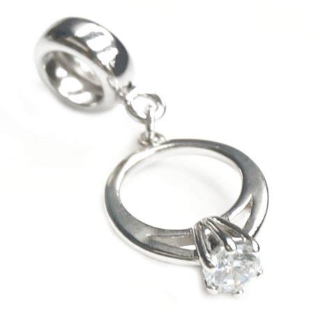 queenberry queenberry sterling silver engagement wedding ring clear cubic zirconia dangle bead