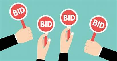Bidding Auction Paddles Hands Bid Ads Bids