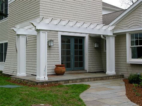 white cedar shingles and an entry pergola avon ct