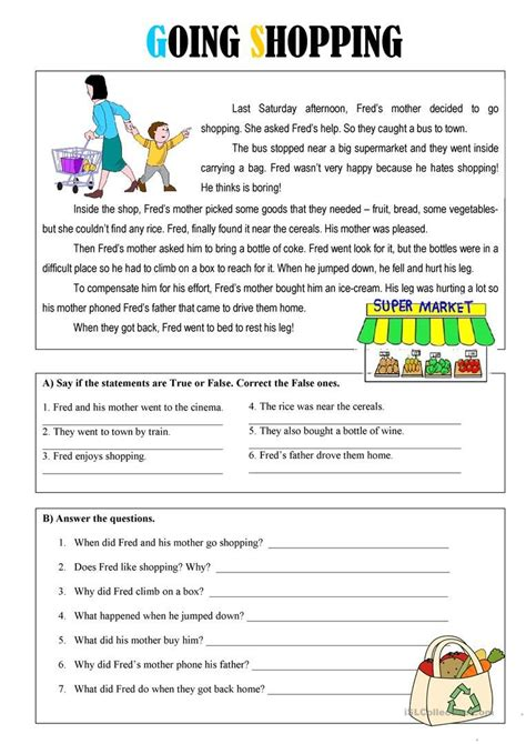 Going Shopping Worksheet  Free Esl Printable Worksheets Made By Teachers  English Worksheets