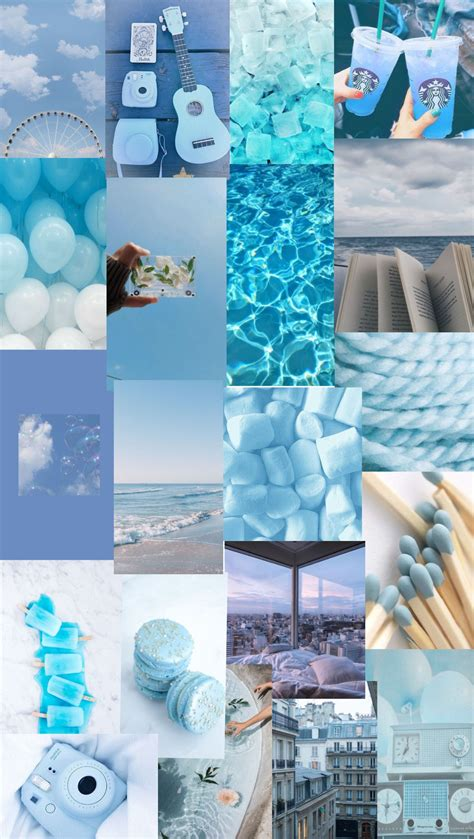 blue collage in 2020 iphone wallpaper aesthetic