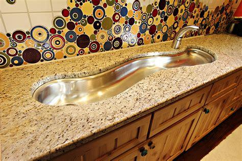 custom made stainless steel sink granite countertop