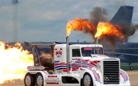 drag racing semi tractor big rig fire flames jets custom