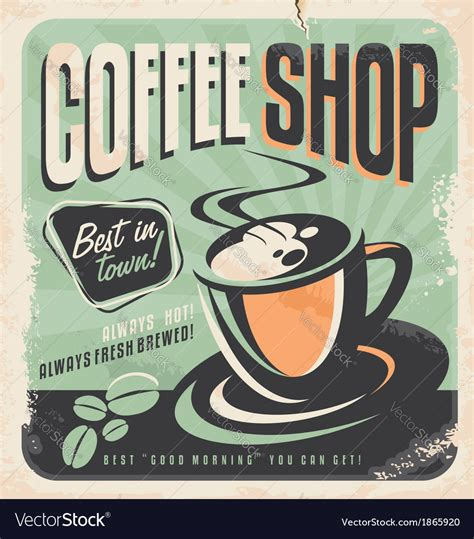 Unique coffee posters designed and sold by artists. Retro poster for coffee shop Royalty Free Vector Image