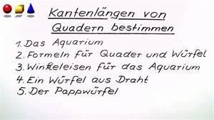 Kantenlänge Eines Würfels Berechnen : kantenl nge eines quaders bestimmen mathematik online lernen ~ Themetempest.com Abrechnung