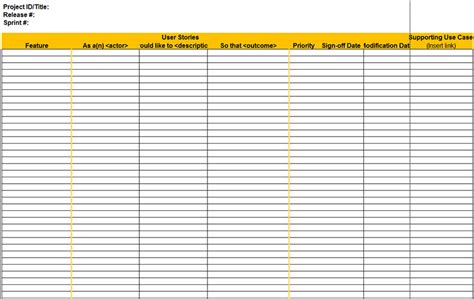 user story templates  word   excel formats
