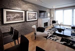 Schwarz Weiß Wohnzimmer : steinwand wohnzimmer design grau zebra schwarz wei basteln wandgestaltung wohnzimmer ~ Orissabook.com Haus und Dekorationen
