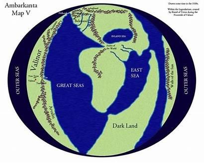 Arda Map Silmarillion Tolkien Land Dark Middle