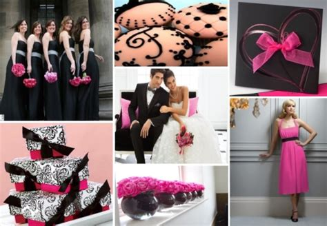 inspiration board fuchsia and black wedding theme