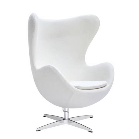 jacobsen style egg chair wool white