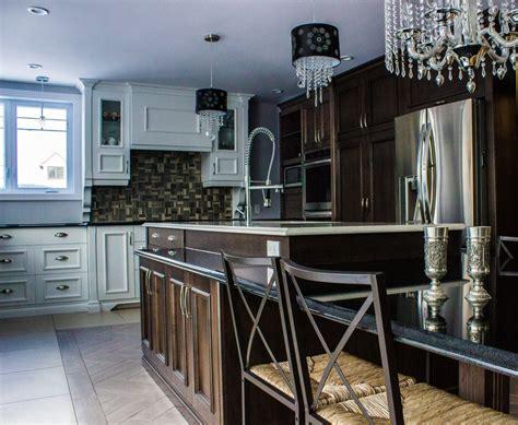 cuisine brun et blanc déco ilot de cuisine granit fort de 2933 ilot