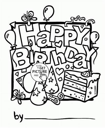 Birthday Coloring Happy Printable Card Pages Cards