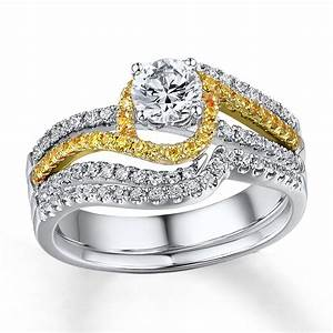 1 carat beautiful white and yellow diamond wedding ring With diamond set wedding rings