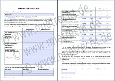 Schufa Auskunft Für Vermieter Kostenlos by Selbstauskunft Des Mieters Mieterselbstauskunft