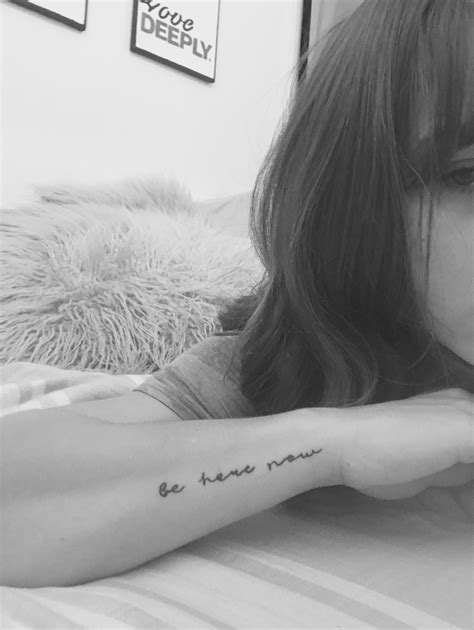 Be here now tattoo, wrist, mindfulness | Tattoos | Cursive tattoos, Tattoos, Writing tattoos