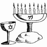 Objects Coloring Religious Candelabra Jewish Crayons Scissors sketch template
