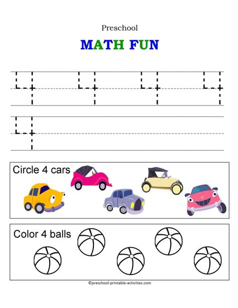number 4 preschool worksheet number worksheets 359