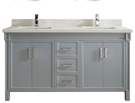 63 Inch Grey Finish Double Sink Bathroom Vanity Natural