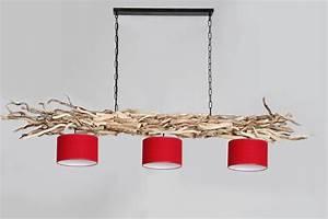 Lampe Mit Mehreren Lampenschirmen : holz lampe aus gesch lten sten mit drei lampenschirmen holz ~ Markanthonyermac.com Haus und Dekorationen