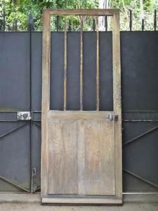 Porte Coulissante D Atelier Larg 83 Cm : ancienne porte d 39 entr e d 39 atelier vitr e en ch ne et fer 205 x 83 cm d co ~ Nature-et-papiers.com Idées de Décoration