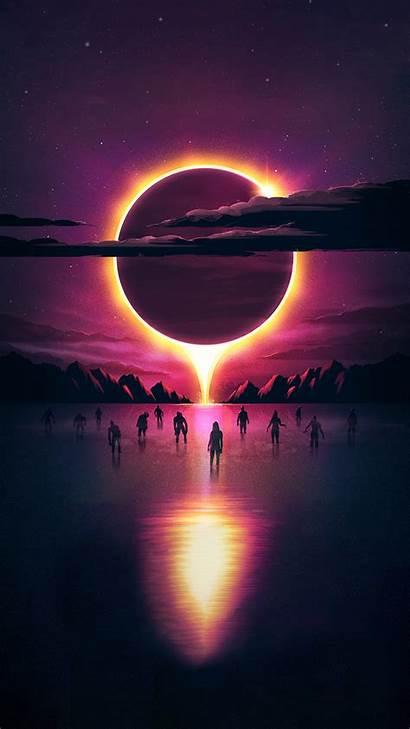 Dark Gunship Phone Fantasy Eclipse Parede Nature