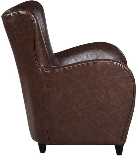 lyric brown leather accent chair 23335 uttermost