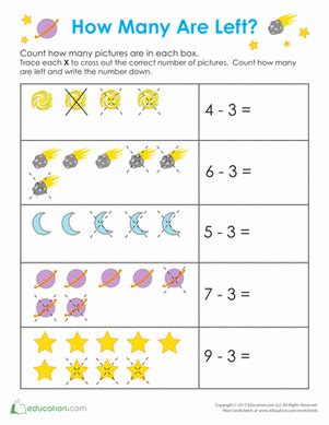 space math worksheets for preschoolers outer space math worksheet education