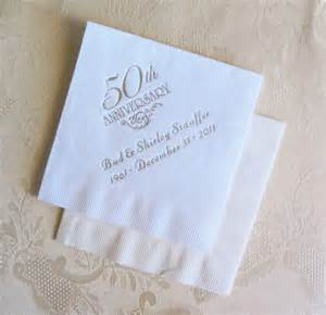 monogrammed wedding guest book golden anniversary napkins 50th anniversary napkins