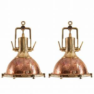 Large copper pendant lighting : Pair of large copper and brass nautical pendants for sale