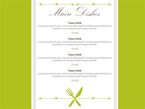carte de menu restaurant modele restaurant menu powerpoint template