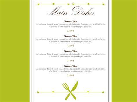powerpoint templates cartas restaurant menu powerpoint template