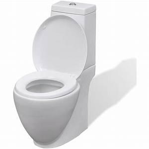 vidaXL WC Cuvette céramique Ronde Blanc 141135 Plomberie sanitaire chauffage