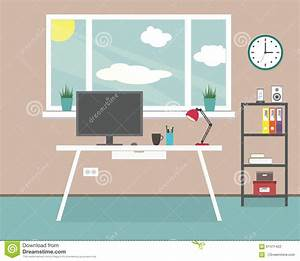 Workplace at home, office stock vector. Illustration of ...