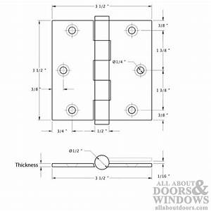 3.5 x 3.5 inch, Square Corners, Standard Hinges, Solid ...