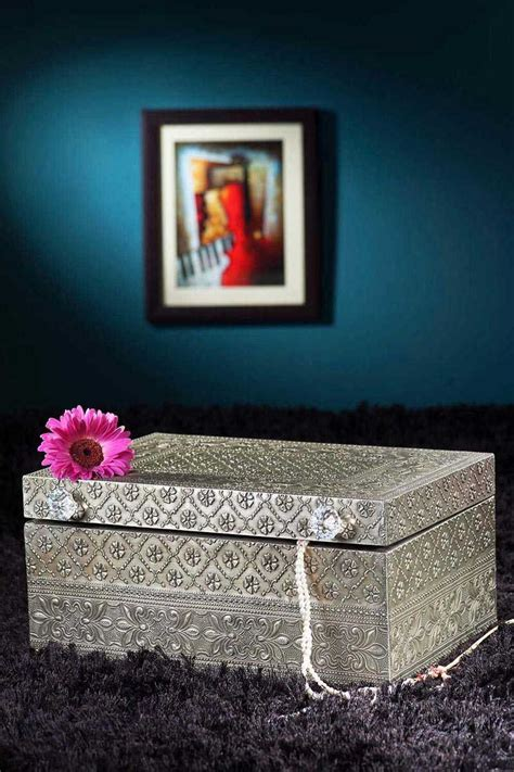 buy  embossed white metal jewelry box gifts metal boxes