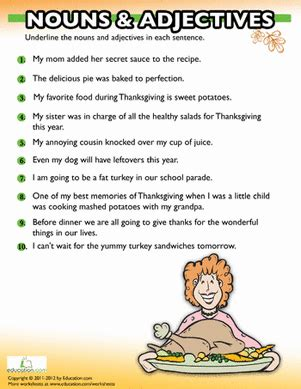 thanksgiving grammar worksheet education