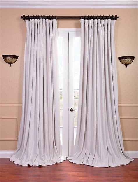 white velvet blackout wide curtain panel