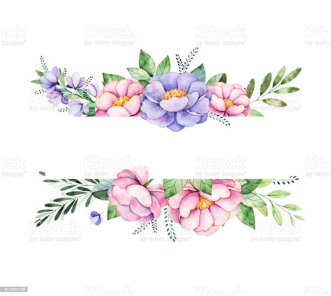 Watercolor Border Frame With Peonyflowerfoliagebranches