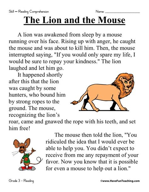 Reading Comprehension Worksheet  The Lion And The Mouse