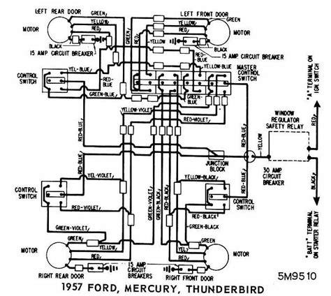 Stareo Wiring Diagram 1996 Ford Thunderbird With Power Antana by Ford Mercury And Thunderbird 1957 Windows Wiring Diagram