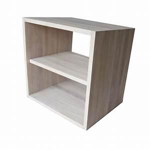 Cube En Bois Rangement : cube de rangement avec tag re en bois de ch ne massif blanchi ~ Melissatoandfro.com Idées de Décoration