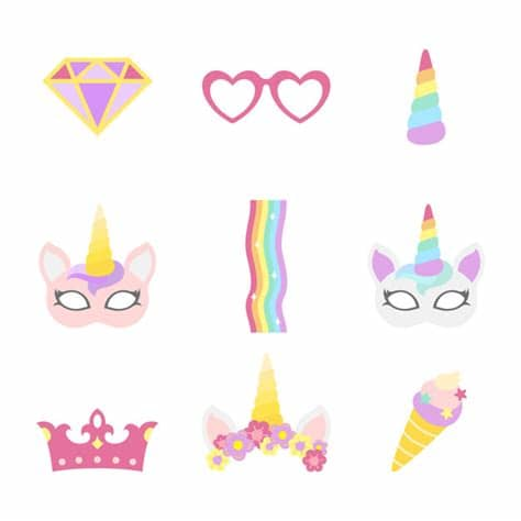 Unicorn icons in ios, material, windows, and other design styles. Cute unicorn photo booth party props vector   Free Vector